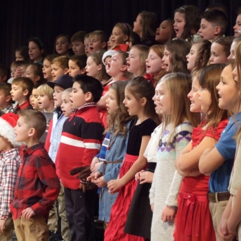 Photo of students singing