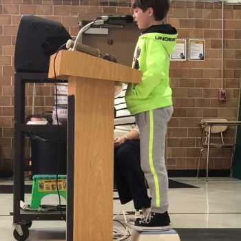 Photo of student speaking