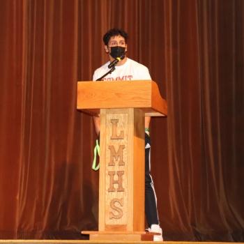 athlete making speech