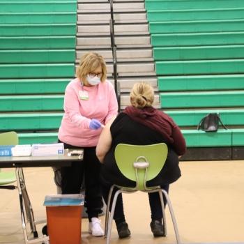 Little Miami staff member gets a COVID-19 vaccination
