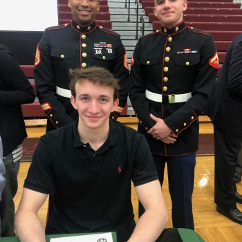 photo of student with marines
