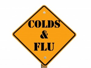 Street sign that says cold and flu