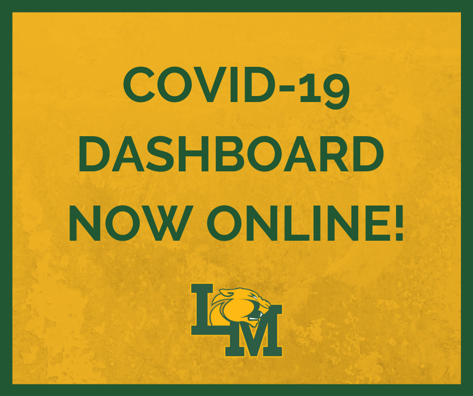 "Graphic that says ""COVID-19 Dashboard Now Online"""