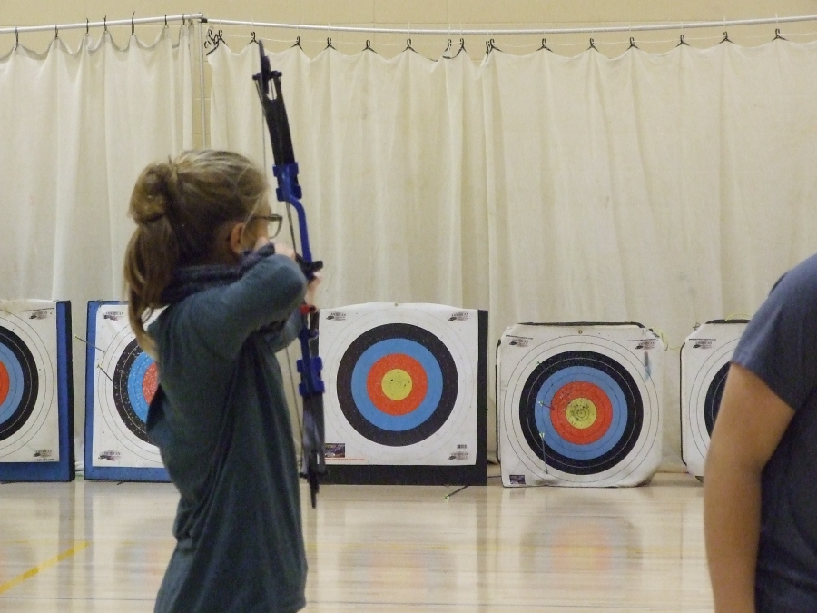 Student doing archery