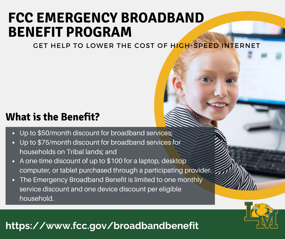 FCC Emergency Broadband Benefit Program information with girl on computer