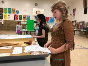 Photo of student dressed as native american
