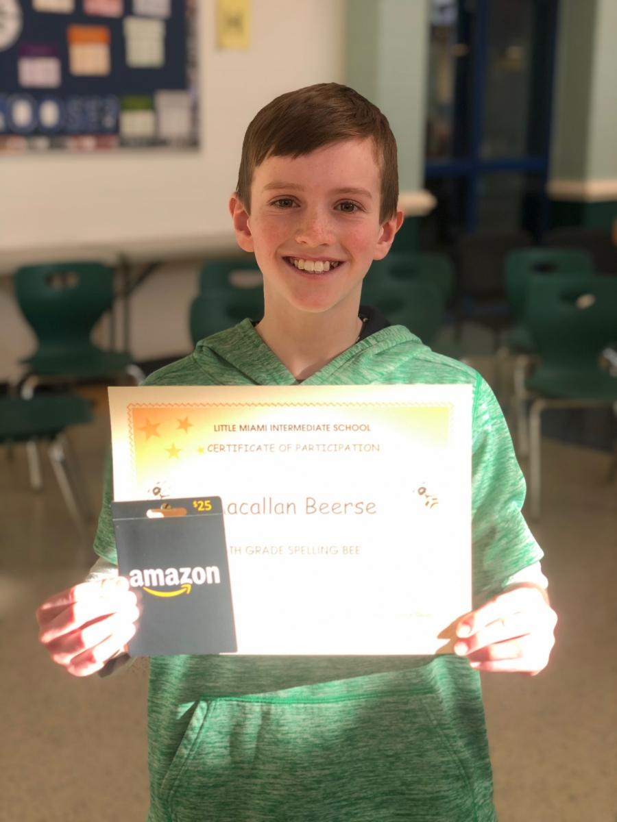 photo of spelling bee winner