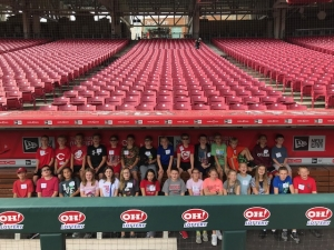 Photo of students in the dugout