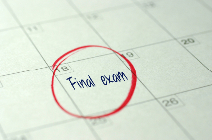 Photo of final exam on calendar