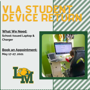 VLA Device Return - student learning on computer