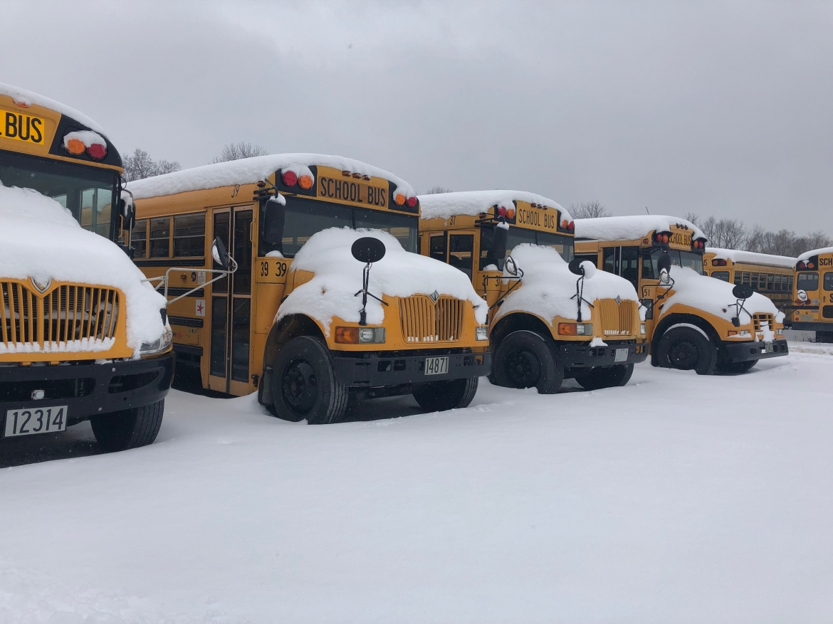 Photo of snowy buses
